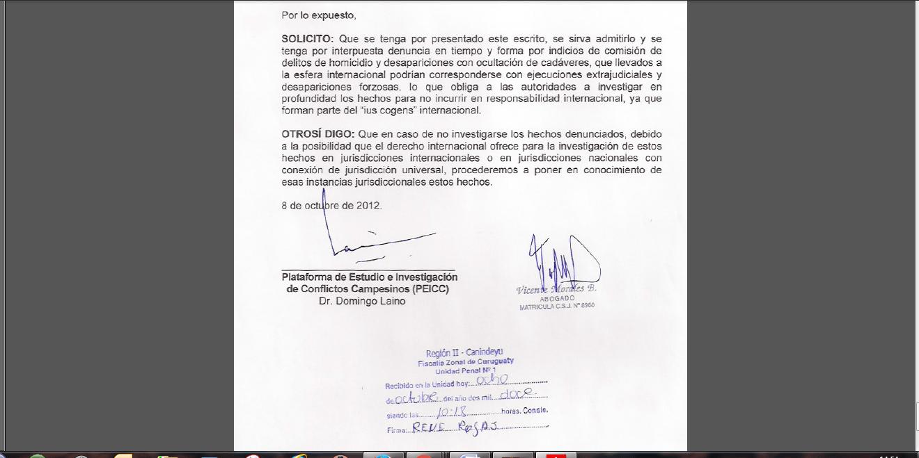 Las ejecuciones extrajudiciales en Curuguaty