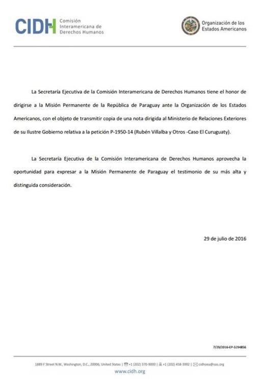 """P-1950-14 (Caso Curuguaty) – Pedido de respaldo en calidad de """"amicus curiae"""" – Paraguay-Madrid"""